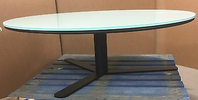 Round White Glass with Black Metal Base Coffee Table