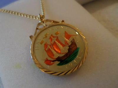 Vintage Enamelled Half Penny Coin Pendant & Necklace 1945. Birthday Xmas Gift