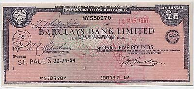 1960's UK £5 Travellers Cheque***Collectors***(2)