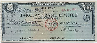 1960's UK £10 Travellers Cheque***Collectors***(2)