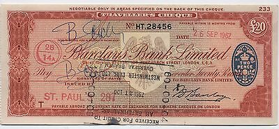 1960's UK £20 Travellers Cheque***Collectors***(2)