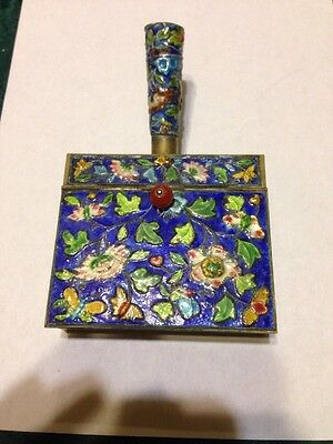 Antique Chinese Cloisonne Silent Butler Crumb Catcher Enamel & Brass China