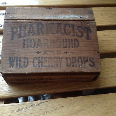 Pharmacist Hoarhound Cough Drops Cherry Box Wooden