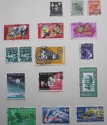 16  Nigerian  Stamps  From  Old  Album