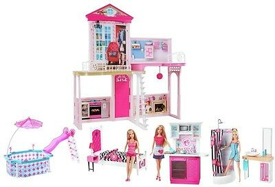 Barbie Play Doll House Play Girls Dolls Home Kitchen Furniture Pink Toy Set New