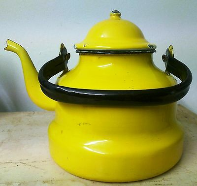 Teapot Enamel Shabby Chic Vintage Kettle Yellow Collectable Canalboat Decor
