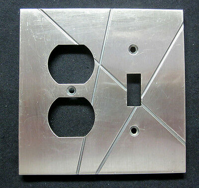 Vintage Funky Retro Atlas 2 Gang Outlet Switch Combo Plate Cover Stainless Satin