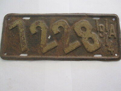 1914 Iowa MOTORCYCLE  License Plate Tag