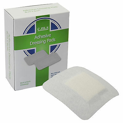 Box of 25 Medical 8 x 6cm Large White Fabric Adhesive Wound Plaster Dressings