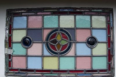 """Antique Victorian English Stained Glass Window 12 1/2"""" x 20"""" Unframed"""