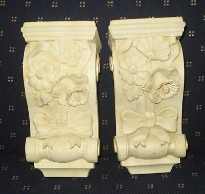 Vintage 2 Flowery Pattern Solid Wood Corbels Figurine Beautiful Nr