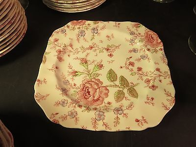 "Johnson Brothers Rose Chintz 7-1/2"" Square Salad Plate"