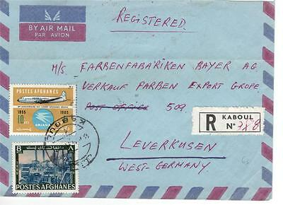 a12 Afghanistan Registered Airmail cover to West Germany
