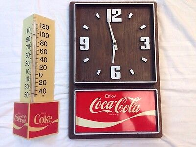 Vintage 1970's Simulated Wood Grain COCA-COLA Clock & Triangle Thermometer