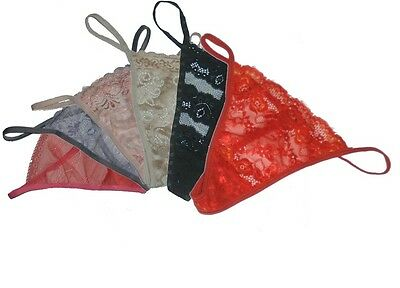 Pack 6 Ladies Lace Erotic Thongs Knickers Red Mixed Colors Sizes 8, 10, 12, 14