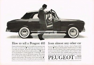 1960 PEUGEOT 403 How To Tell it From Other Cars Centerfold Vtg Print Ad