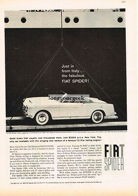 1960 FIAT Spider 1200 White Convertible Just In From Italy Vtg Print Ad