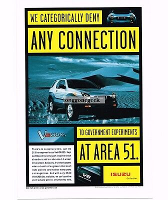 1999 Isuzu VehiCROSS  No Connection to AREA 51 Vtg Print Ad