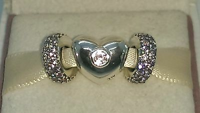 Genuine Pandora Silver heart and pink spacer set S925 ALE