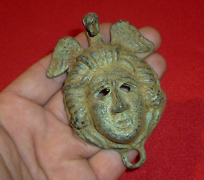 ROMAN Ancient Artifact - Bronze MEDUSA STATUETTE / APPLIQUE Circa 100-300 AD