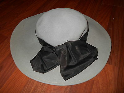 Womans Vintage Vogue 1940S Xtra Large Wool Hat W/ Taffetta Bow