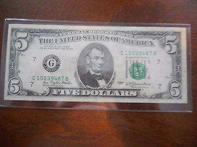 1977 Series $5.00 Federal Reserve Note, Green Seal, Chicago  FRB, XF