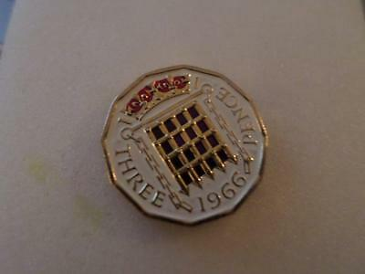 Lucky Charm Vintage Hand Painted Three Pence Coin 1966. Great Christmas Present