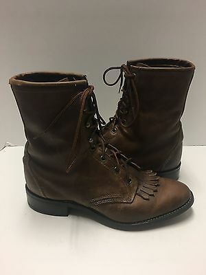 Laredo Size 8 EE Brown Leather Lace Up Roper Boots Kiltie Western