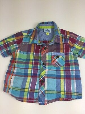 Baker By Ted Baker Infants Boys Green Checked Shirt Size Age 0-3 Months