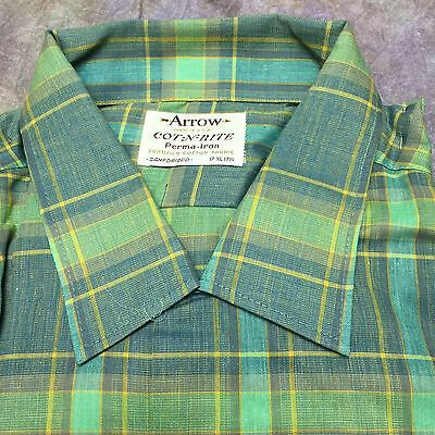 SBE Vtg ARROW Cot-N-Rite Plaid Sanforized Loop Collar Shirt Rockabilly Xl Tall