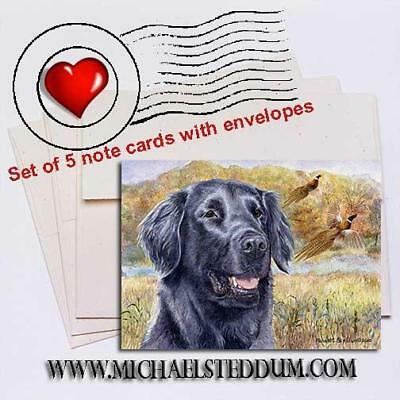 Flat Coated Retriever Head Study IV Note Card Set