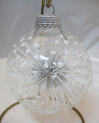 Vintage Christmas Ornament West Germany Snowball w Snow Mica Dotted Glass Ball