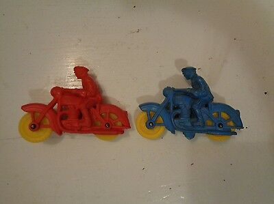 Vintage Pair of Auburn Rubber Police Motorcycle Red and Blue Harley Davidson