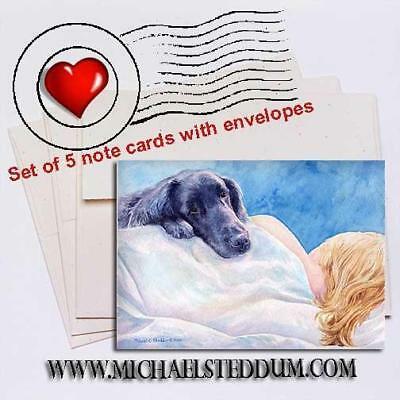 Lucky Dog, Flat Coated Retriever Note Card Set