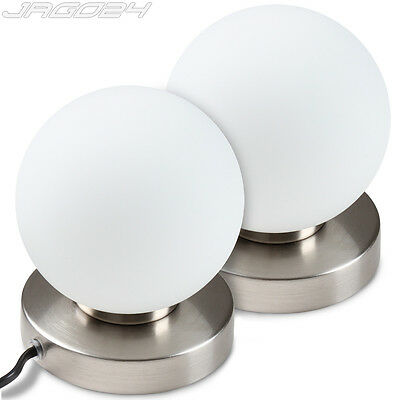 2 Table Lamps Bedside Lampshade Dimmer Touch Light Bedroom Ball Shaped White