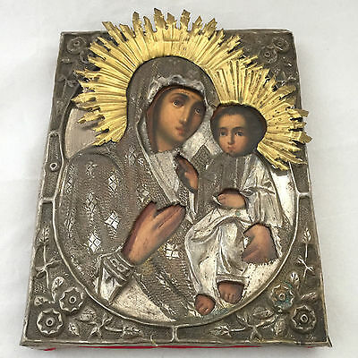 Antique Russian Hand Painted Silver plated Icon Virgin of Smolensk