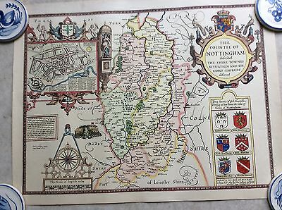 """John Speede Original  Map Nottinghamshire"""" By Hand With Provenance"""""""