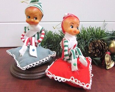 Vintage RARE! Pair of Kneehuger Elves on Pillows Red & Green Striped Made Japan