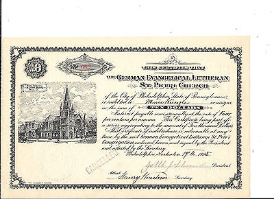 German Evangelical Luthern St. Petri Church Certificate--1905