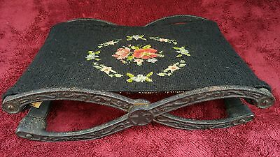 Antique Victorian Cast Iron Folding Buggy Seat Foot Stool~Embroidered