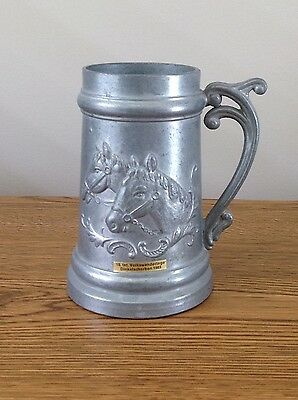 Pewter Horse Head Beer Stein Made In Germany