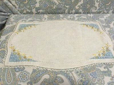 Vintage linen embroidered placemat with handmade border