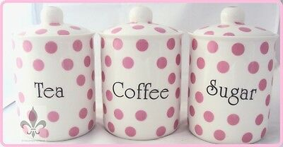 Pink Spots Tea Coffee Sugar Canisters Bone China Jars Set Hand Decorated in UK