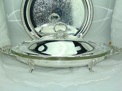 Wallace Baroque Silver Footed Buffet Server #711 Casserole Bowl  Tray Liner Lid
