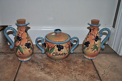 Unqiue Bella Casa by Ganz Olives Bowl with Lid and Pitcher Cruet