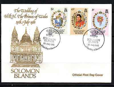 Solomon Islands 1981 Royal Wedding Fdc #a0369