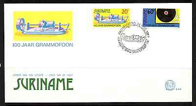 Suriname 1977 Fdc – 100 Years Of Recorded Sound #a0326