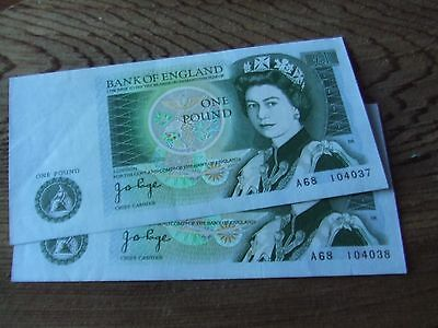 J.b. Page.  One Pound Note. 1978 Issue. 2 Consecertive.   Mint Condition.
