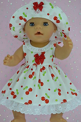 """Play n Wear Doll Clothes To Fit 17"""" Baby Born  CHERRY DRESS~HAT"""