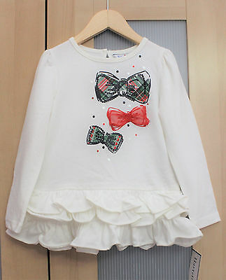 NWT Hartstrings Toddler Girl Holiday Bow Top ~ Size 3T